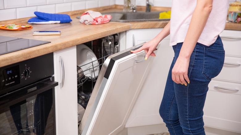 woman running the dishwasher