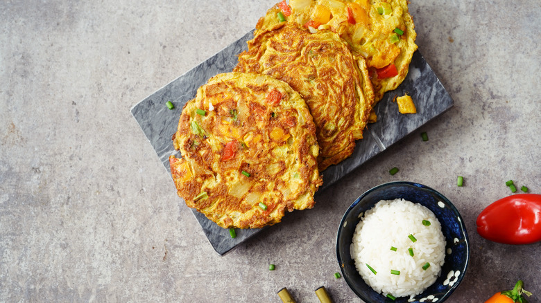 Egg foo yung served with rice