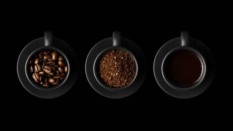 coffee beans, ground, and drink