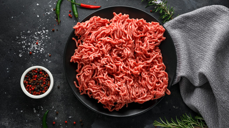 Ground beef in a bowl on a counter