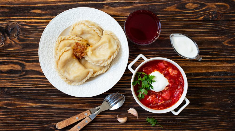 Pierogi and borscht