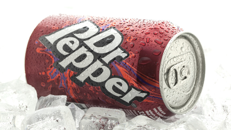 Iced can of Dr Pepper