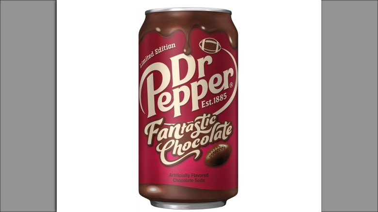 Lone can of Dr Pepper FANtastic Chocolate