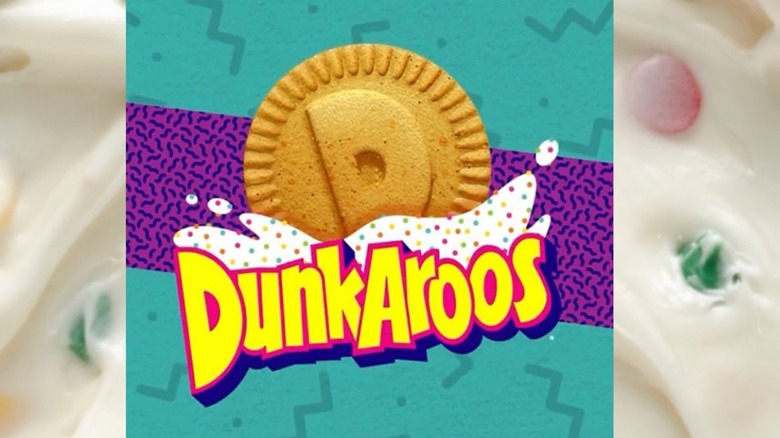 Snack brand Dunkaroos name on a white frosting background