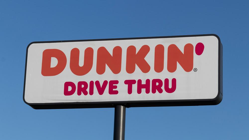 Dunkin' drive thru signage