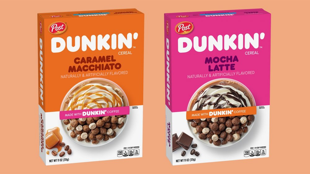 boxes of new Dunkin' caffeinated cereals