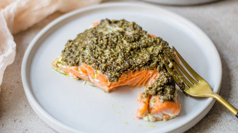 baked pesto salmon on plate