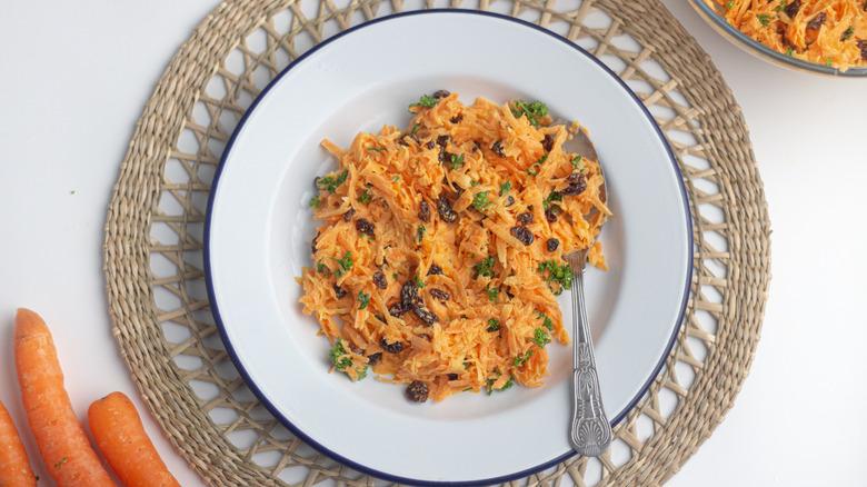 Easy carrot raisin salad in a bowl
