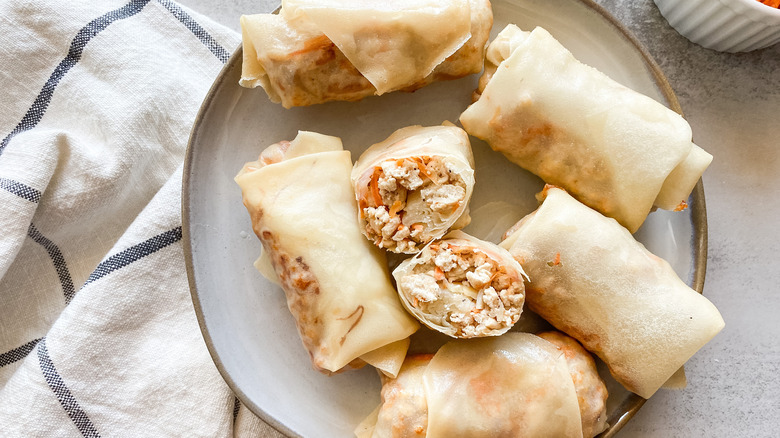 chicken egg rolls on plate