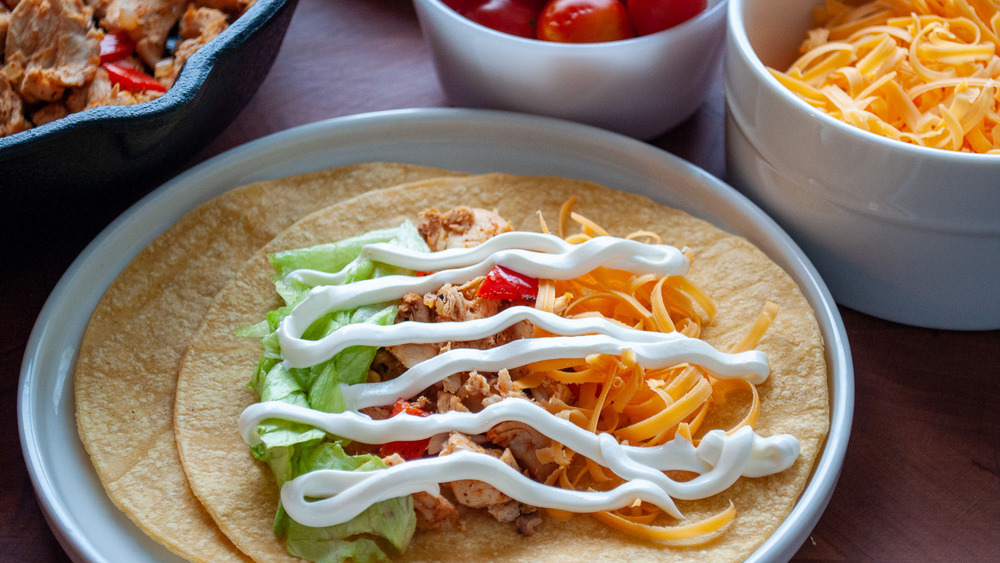 chicken tacos being served