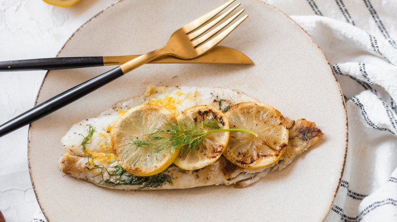grilled orange roughy on plate