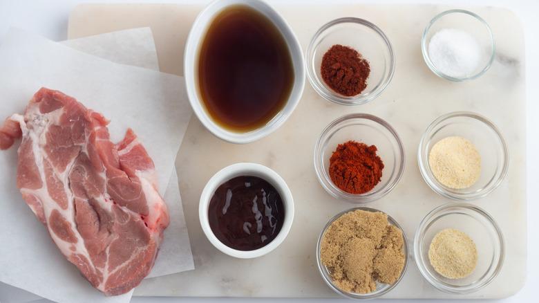 Ingredients sitting on a cutting board