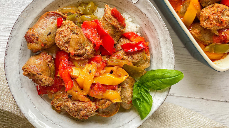 sausage and peppers on plate