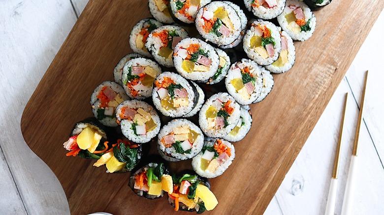 kimbap sliced on a plate