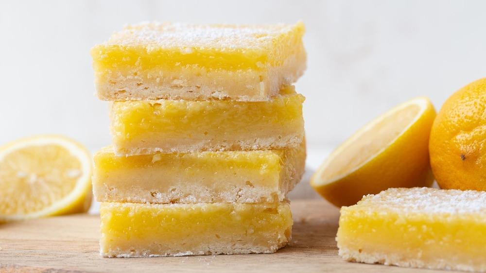 lemon bars stacked up