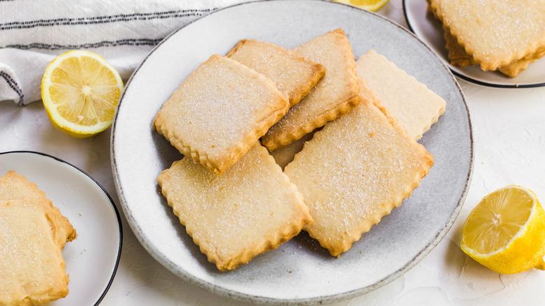 lemon shortbread cookies on plate