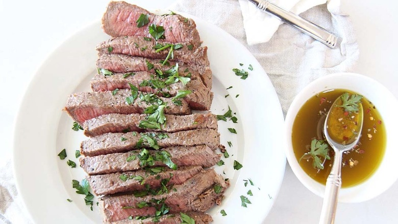 London broil plated with marinade