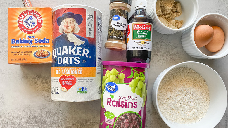 Ingredients for oatmeal raisin muffins