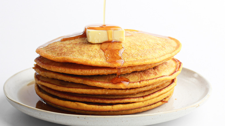 Easy Pumpkin Pancakes Recipe on a plate