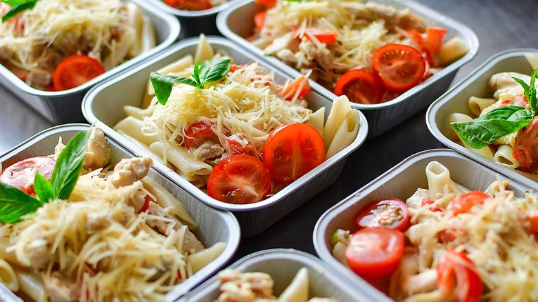 fresh pasta salad in bowls