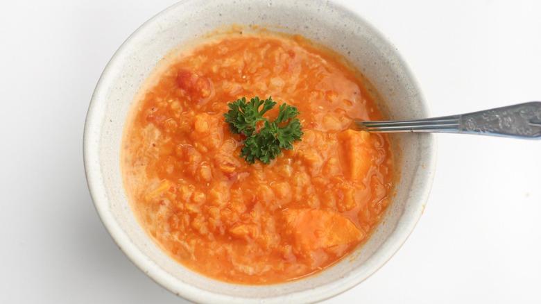 Easy red lentil soup in a bowl