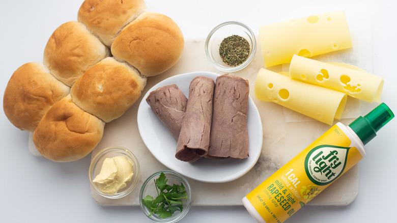 easy roast beef slider ingredients on counter