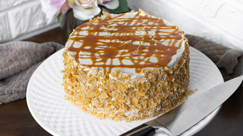 Salted Caramel Vanilla Crunch Cake
