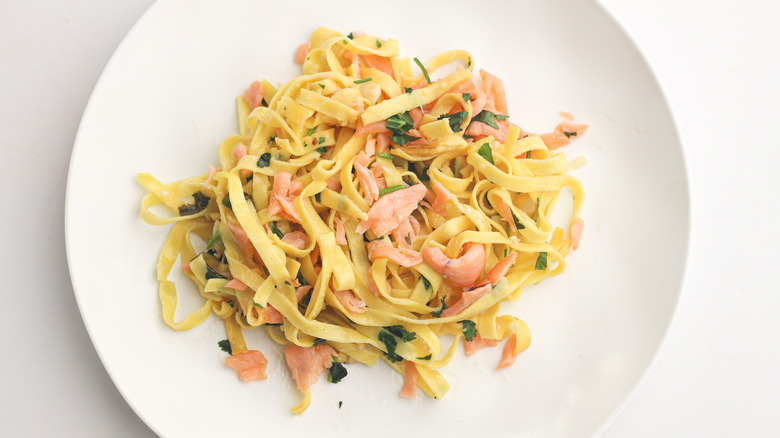 salmon pasta on plate