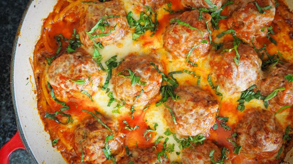 Easy spaghetti and meatballs casserole