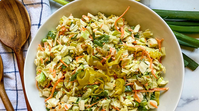 bowl of spicy coleslaw