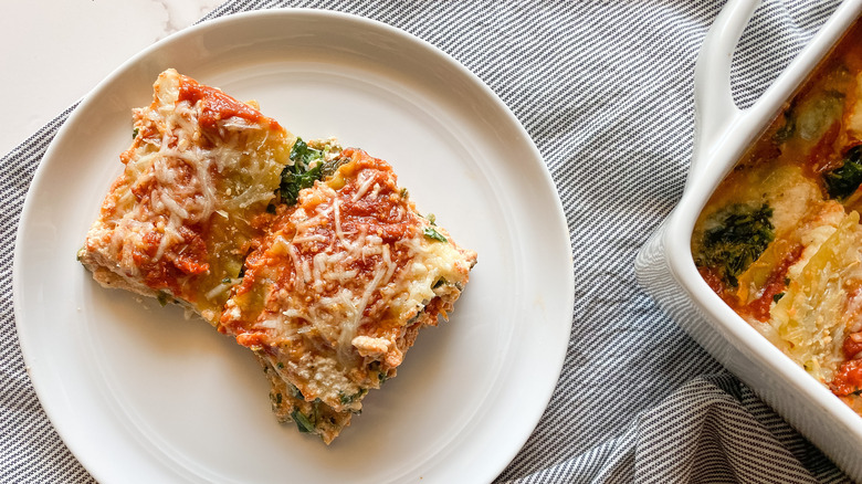 spinach lasagna on plate