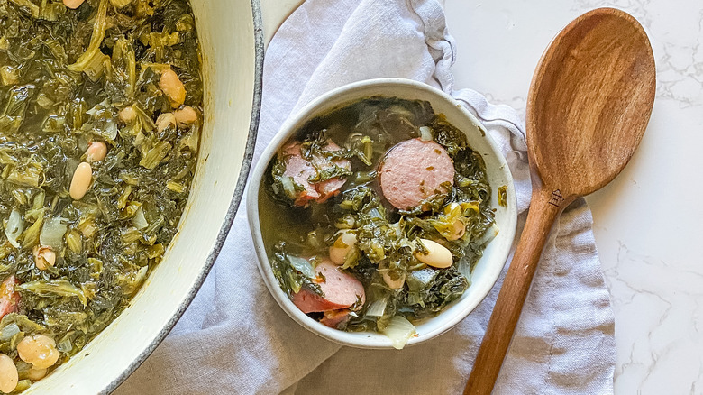 A bowl of turnip greens soup
