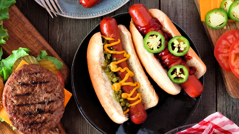 summertime burger and hot dogs