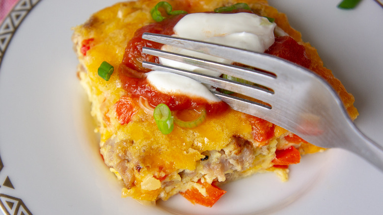 slices of egg casserole