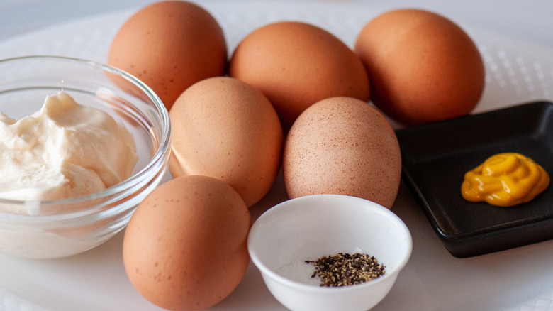 ingredients for egg salad recipe on counter