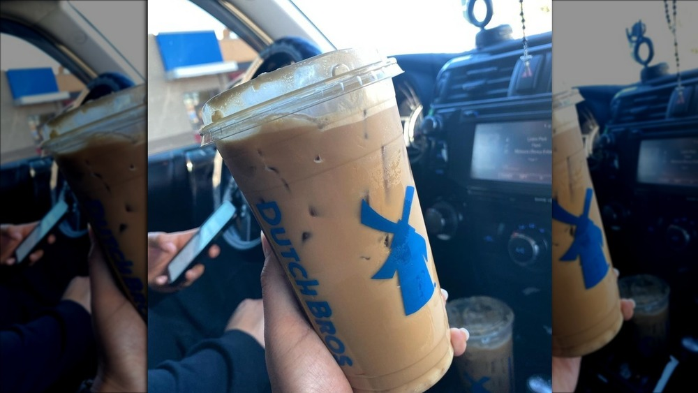 A takeaway cup from Dutch Bros Coffee