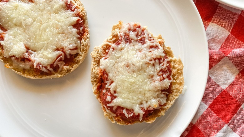 English muffin pizzas on plate