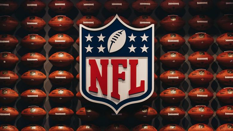 nfl logo with footballs