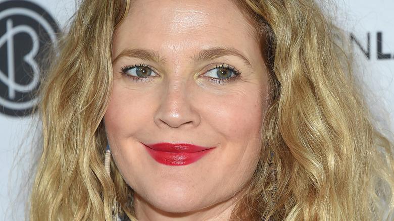 Drew Barrymore in red lipstick