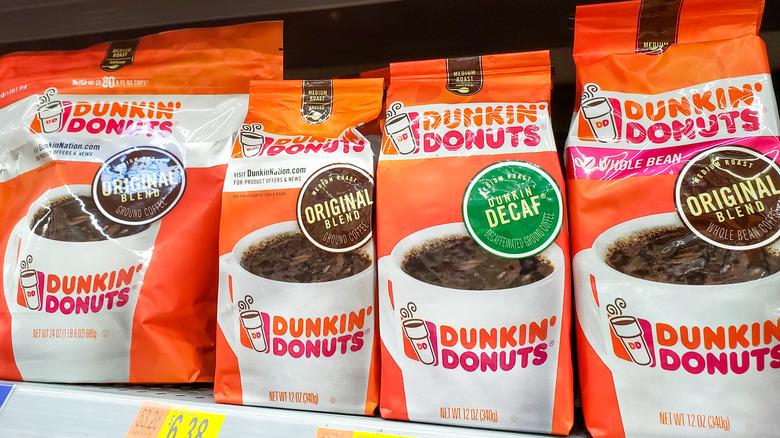 dunkin coffee bags on shelves