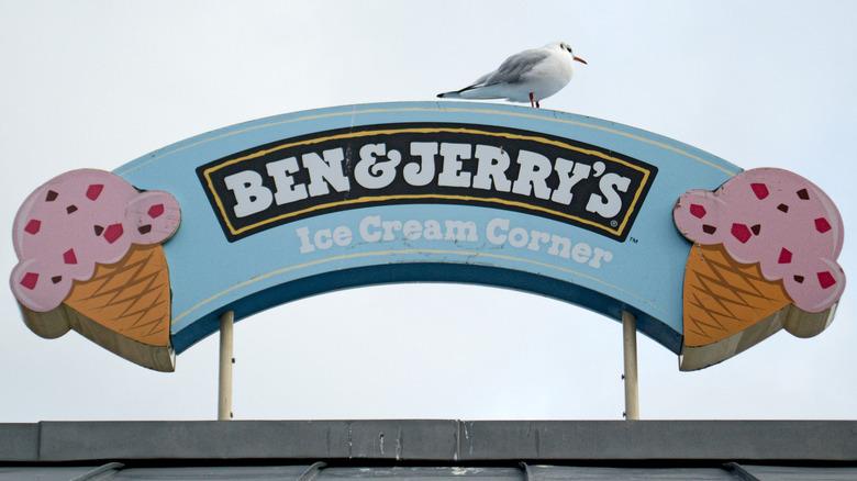 Ben & Jerry's sign with cones