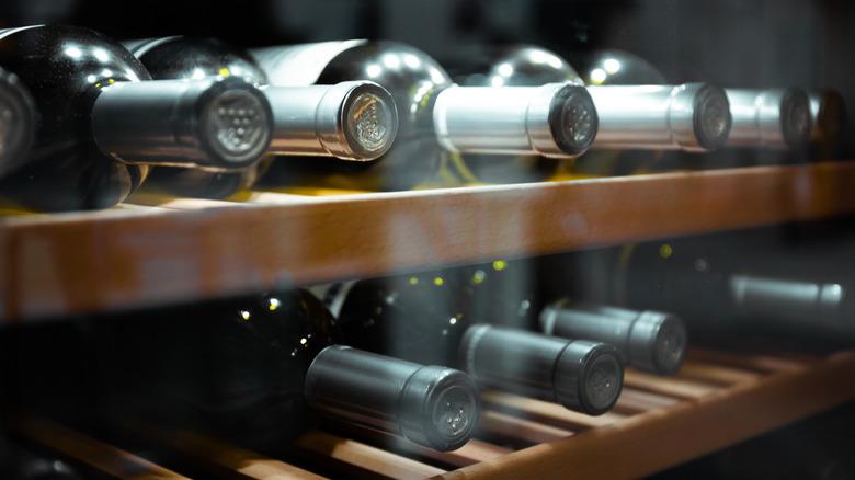 Wine bottles in storage
