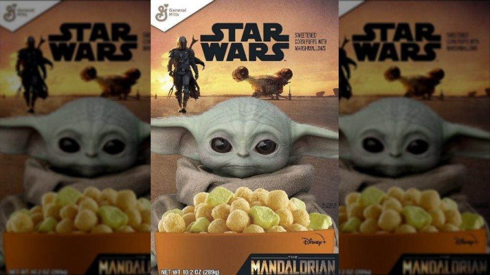 Genera Mills Star Wars: The Mandalorian box featuring Baby Yoda