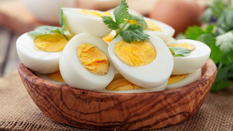Bowl of hard-boiled eggs