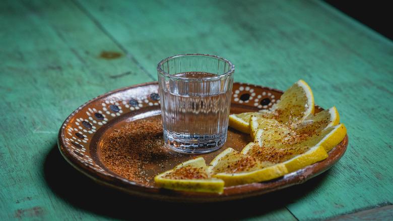 Glass of mezcal
