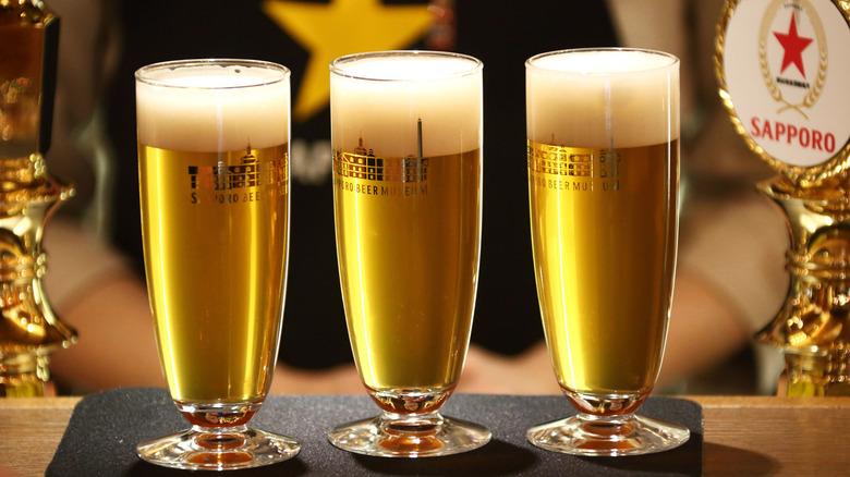 Glasses of Japanese lager