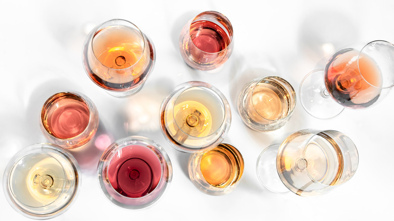A variety of rosé glasses