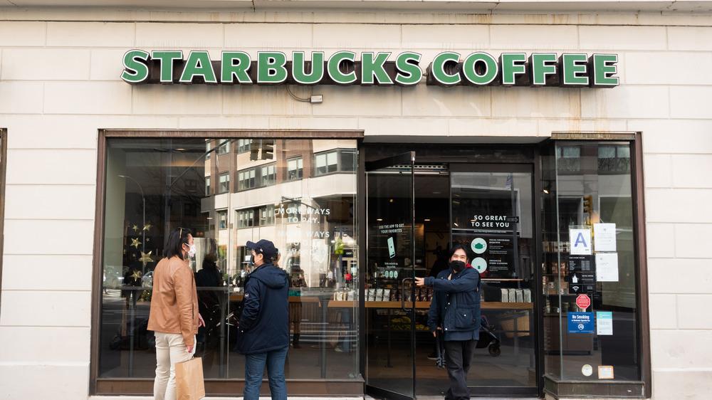 Outside of a Starbucks