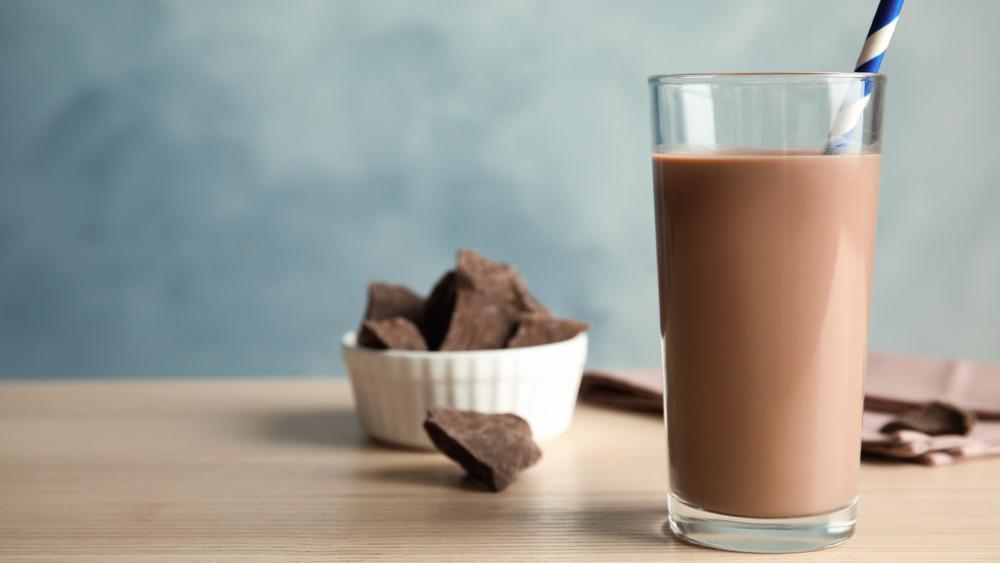 Chocolate milk in a glass