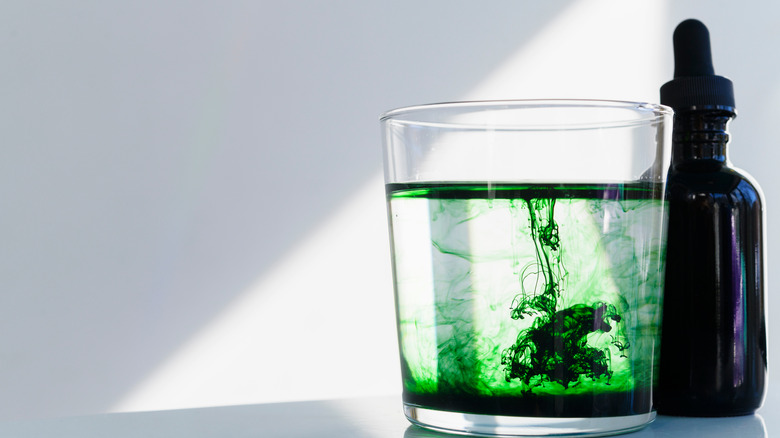 Bright green chlorophyll blending into water